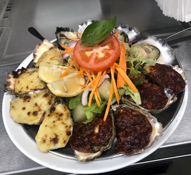 Oysters Mornay and Kilpatrick Oysters